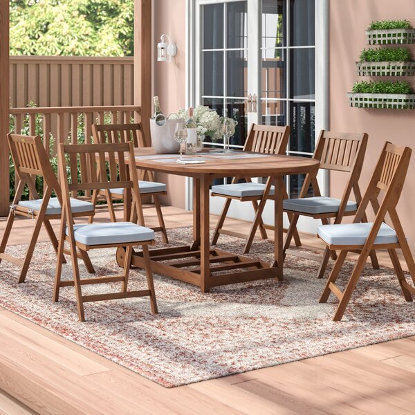 Mina 7 Piece Dining Set with Cushions by Beachcrest Home