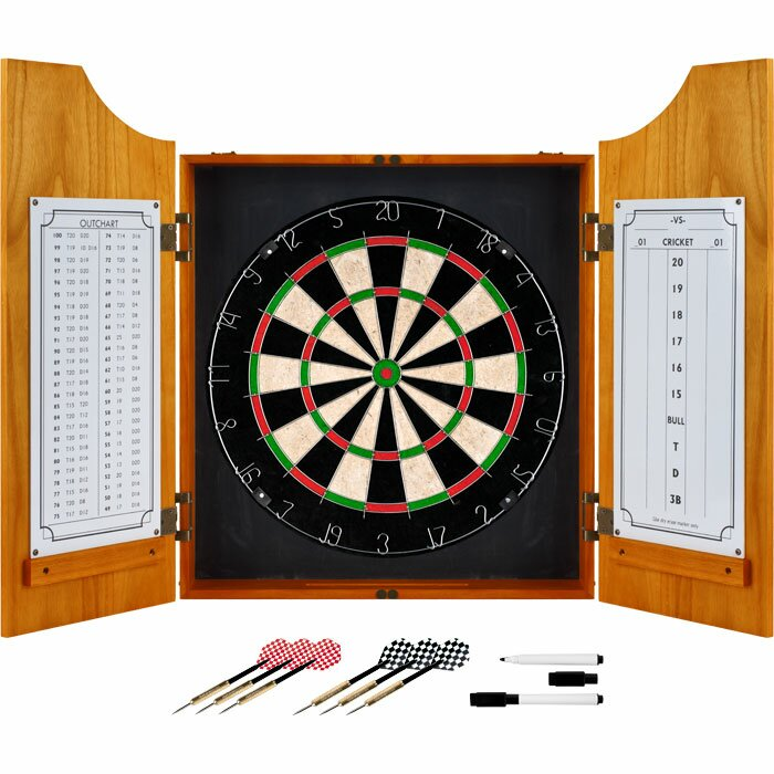 Trademark Games Solid Wood Dart Cabinet with Dartboard and Darts ...