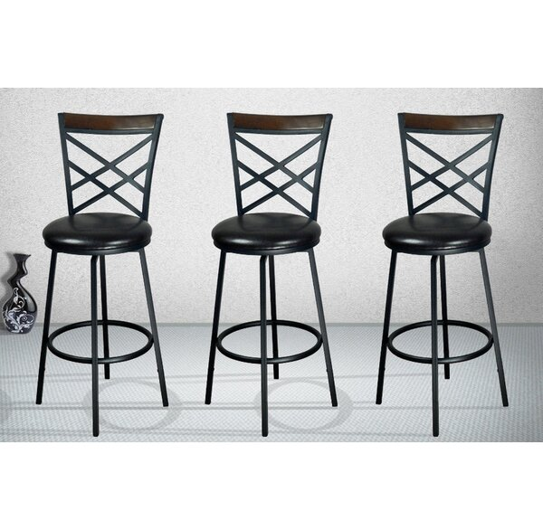 Taryn Adjustable Height Swivel Bar Stool (Set of 3) by Millwood Pines