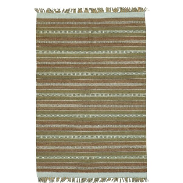 Flat Weave Striped Durie Kilim Oriental Hand-Knotted Cotton Brown/Mustard Area Rug by Bloomsbury Market