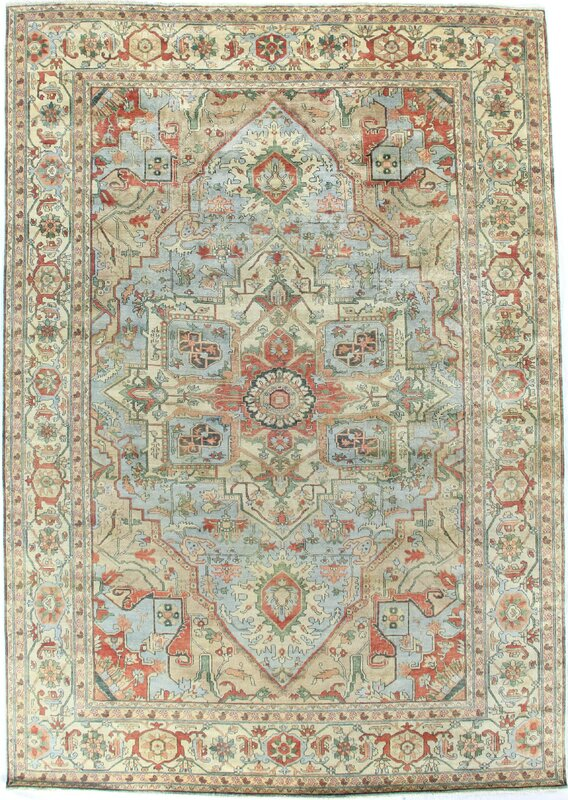 Exquisite Rugs Serapi Hand Knotted Wool Light Blue Ivory