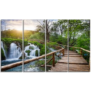 'Pathway in Plitvice Lakes' 4 Piece Photographic Print on Wrapped Canvas Set by Design Art