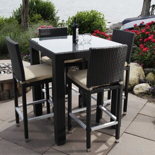 Ibiza 5 Piece Bar Height Dining Set with Cushions By Madbury Road
