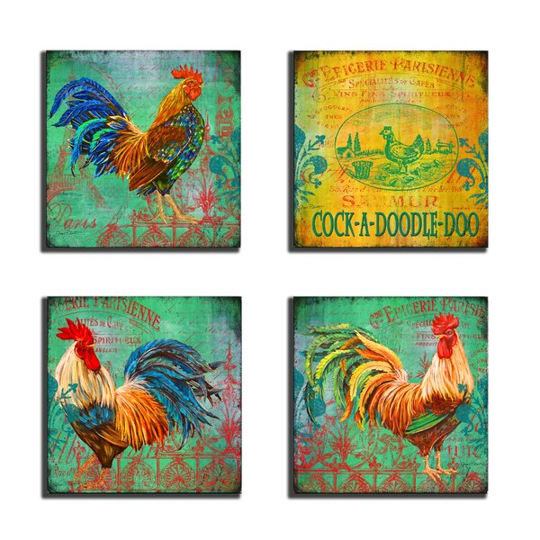 Parisian Rooster 4 Piece Wooden Textual Art Wall Plaque Set by Stupell Industries