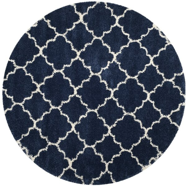 Melvin Power loomed Shag Blue/Beige Area Rug by Charlton Home