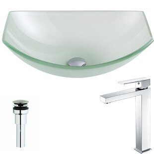 Pendant Glass Specialty Vessel Bathroom Sink with Faucet ANZZI