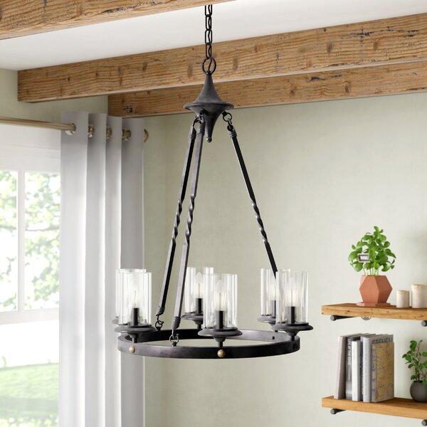 Chifdale 6-Light Wagon Wheel Chandelier by Gracie