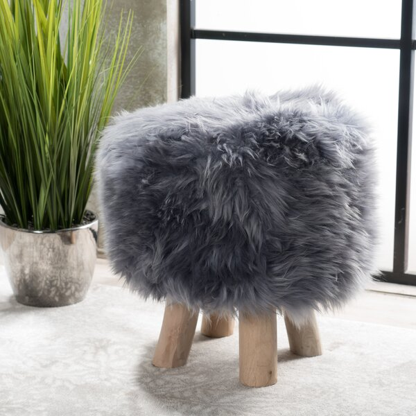 Patmos Sheep Hide Accent Stool by Bungalow Rose