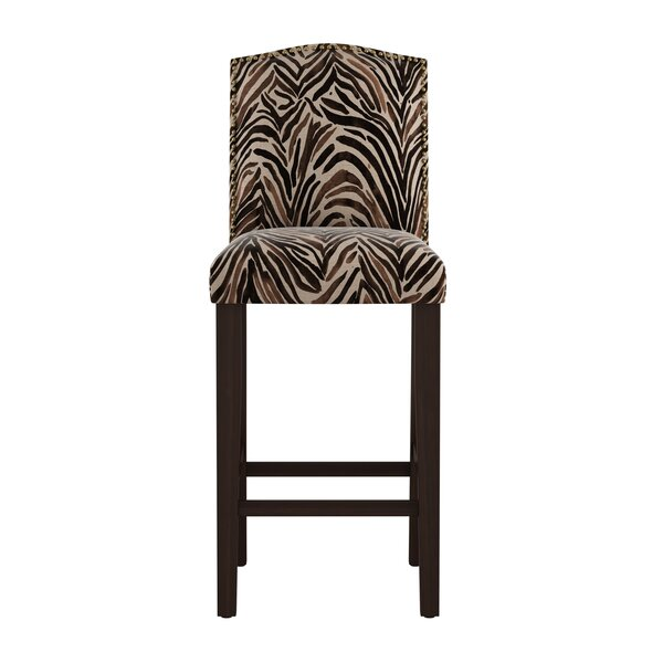 Genevie Arched Washed Zebra 31 Bar Stool by Bloomsbury Market