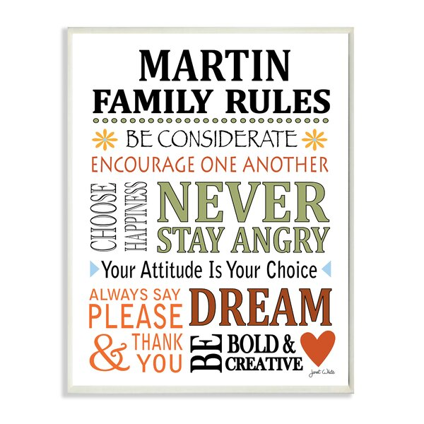 Personalized Family Rules Heart and Flowers Textual Art Plaque by Stupell Industries
