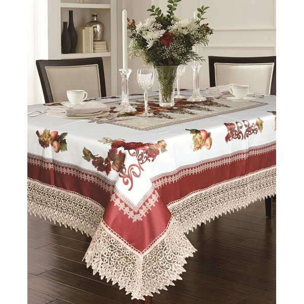 Akins Tablecloth With Lace Trimming by Fleur De Lis Living