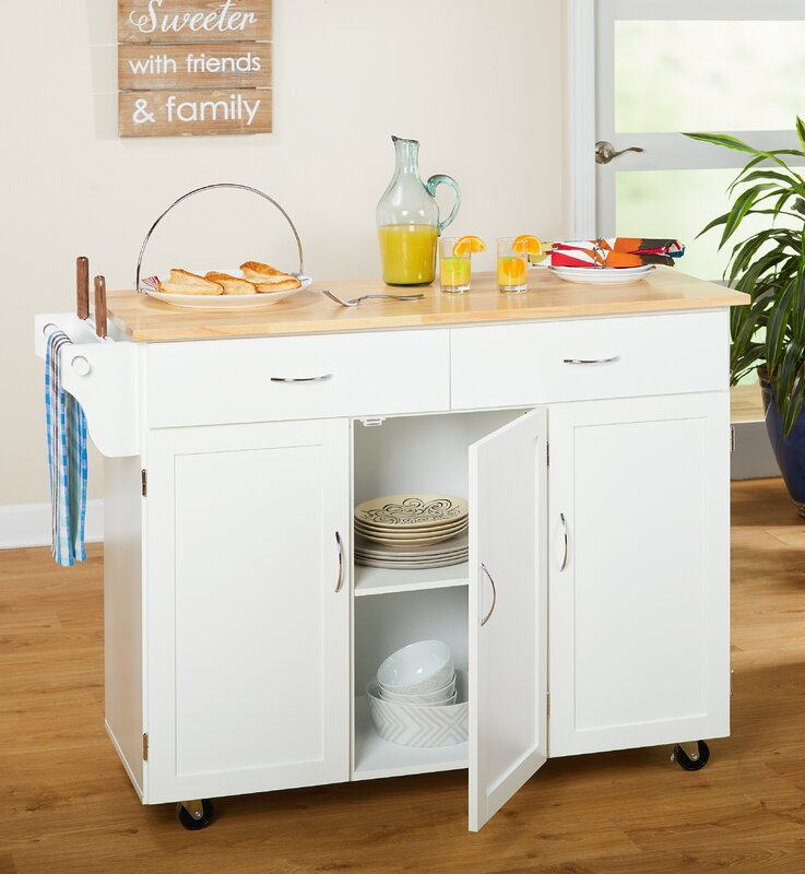 Alcott Hill Sayers Kitchen Island with Wood Top & Reviews | Wayfair