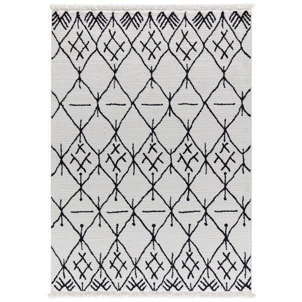 Byrd White/Charcoal Area Rug by Foundry Select
