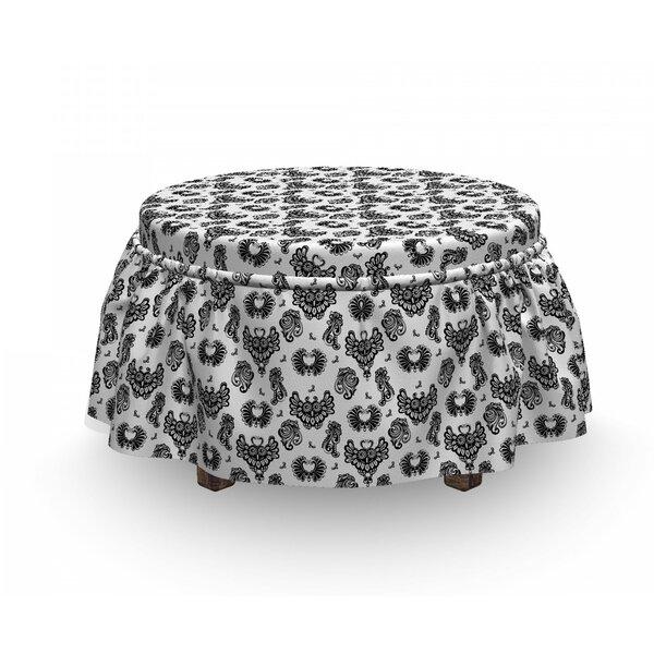 Home & Outdoor Gothic Victorian Owls Flourish 2 Piece Box Cushion Ottoman Slipcover Set
