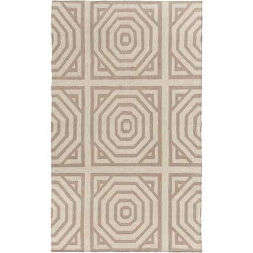 Flatweave Cinder Tufted Wool Ivory Area Rug by Surya
