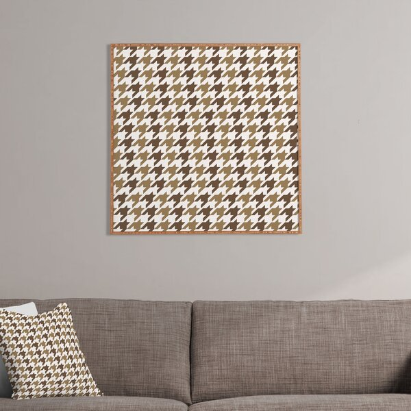 Classy Brown Houndstooth Framed Graphic Art by East Urban Home