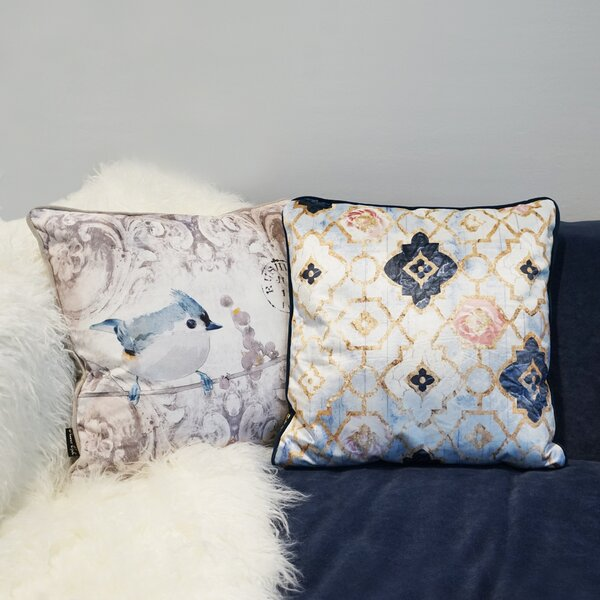 Tufnell Rose Quartz Moroccan Velvet Throw Pillow by House of Hampton