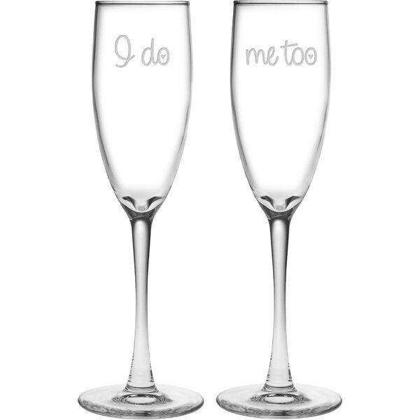Oscar I Do / Me Too 5.75 oz. Champagne Flute by Mint Pantry