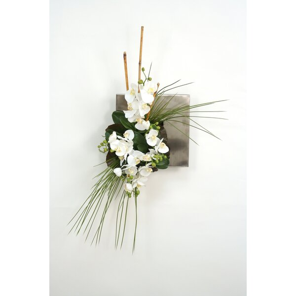 Wall Hanging Orchids, Bamboo and Grass in Flat Tray by Distinctive Designs