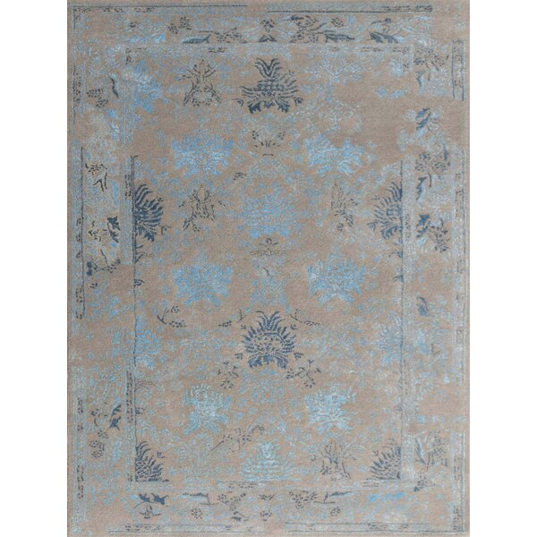 Hadassah Hand-Tufted Silver/Blue Area Rug by Ophelia & Co.