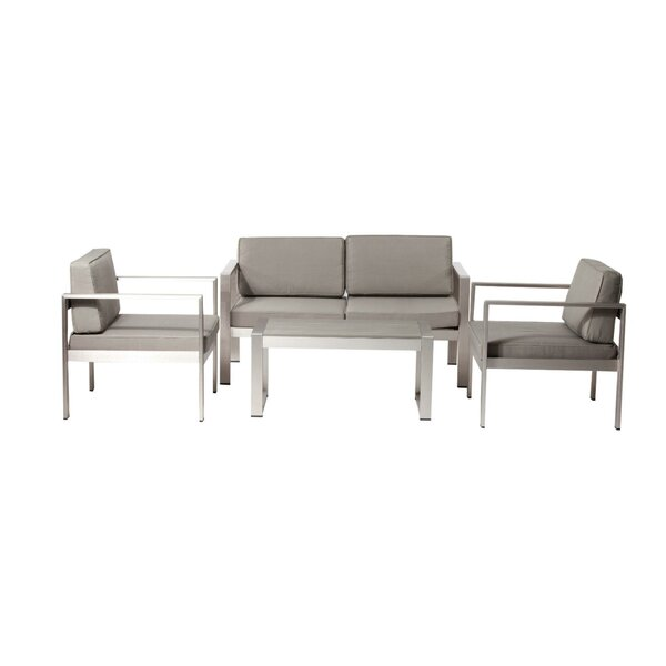 Leblanc Enchanting and Modish 4 Piece Sofa Seating Group with Cushions by Orren Ellis Orren Ellis