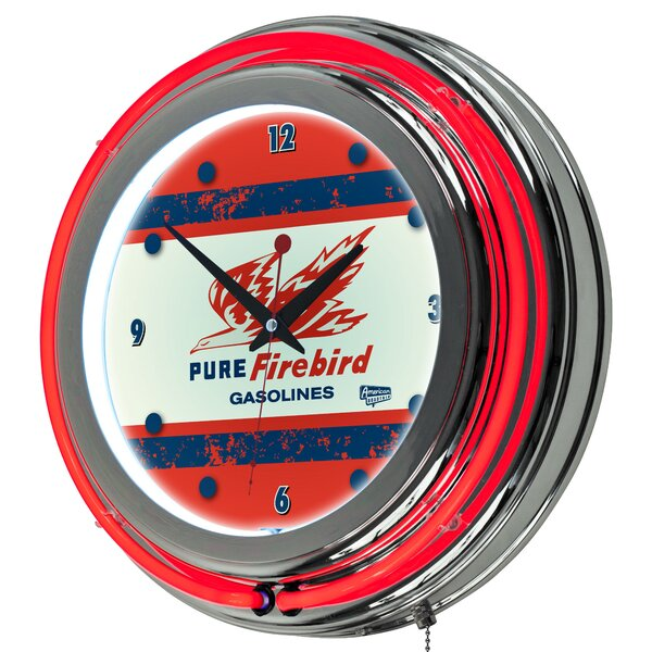 Pure Oil Vintage Neon 14.5 Wall Clock by Trademark Global