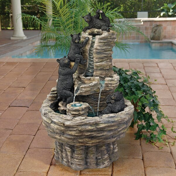 Resin Rocky Mountain Splash Black Bears Garden Fountain by Wildon Home ®