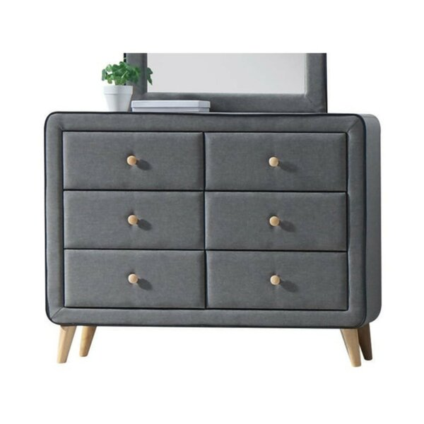 Maone Upholstery 6 Drawer Double Dresser by Wrought Studio