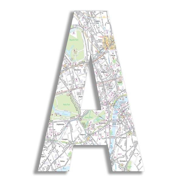Tyrik London Map Letter Hanging Initials by Viv + Rae