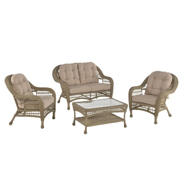 Procopio 4 Piece Sofa Seating Group with Cushions by Bungalow Rose Bungalow Rose