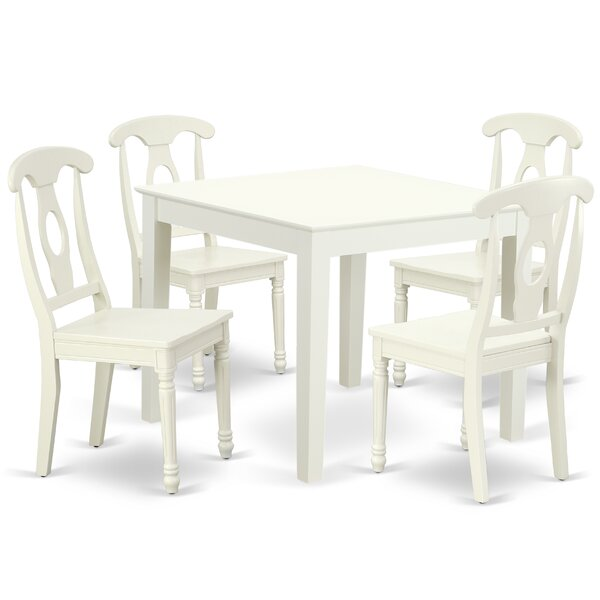 Krull 5 Piece Solid Wood Dining Set by August Grove