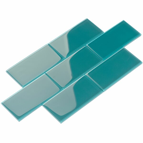 3 x 6 Glass Subway Tile in Dark Teal by Giorbello