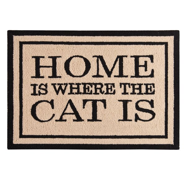 Holstein Home Is Where the Cat Is Wool Tan Area Rug by Winston Porter