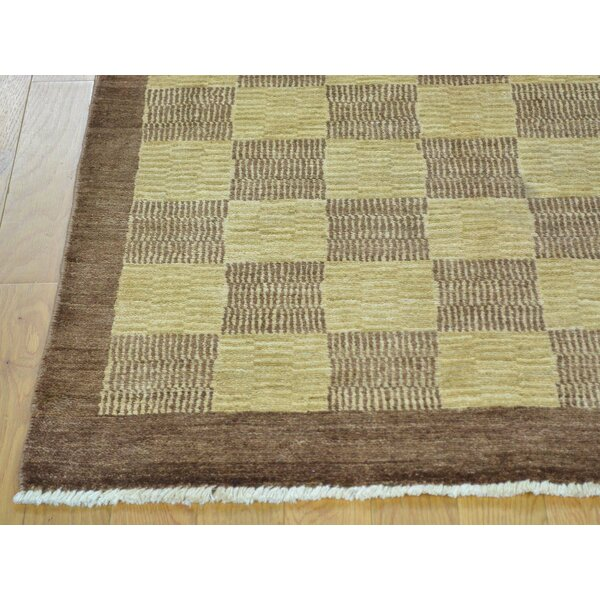 One-of-a-Kind Becker Shades Hand-Knotted Beige Wool Area Rug by Isabelline