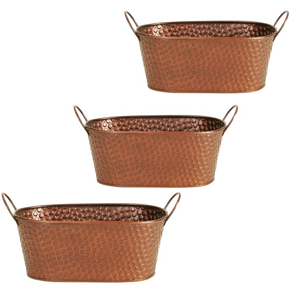 Hammered Metal Pot Planter (Set of 3) by WaldImports