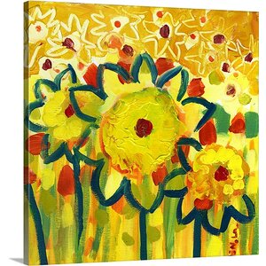 'Amongst the Sunflowers No. 1' by Jennifer Lommers Painting Print on Canvas by Canvas On Demand