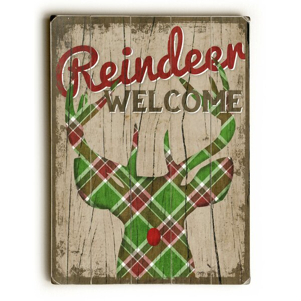 Reindeer Welcome Plaid Framed Painting Print by Th