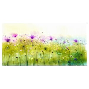 Green Purple Abstract Cosmos of Flowers Painting Print on Wrapped Canvas by Design Art