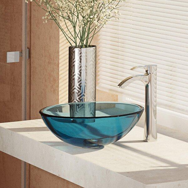 Glass Circular Vessel Bathroom Sink with Faucet by René By Elkay