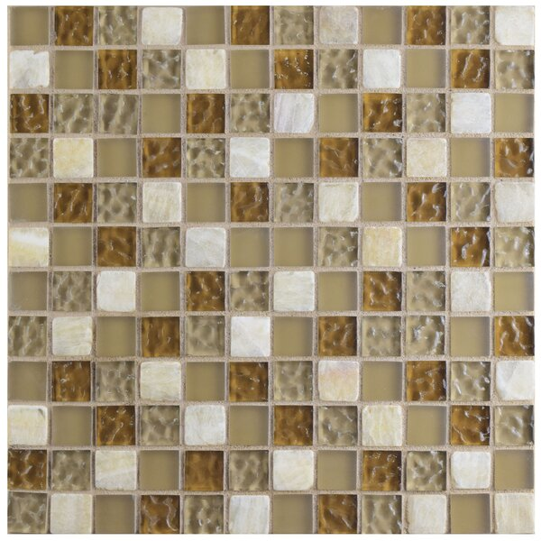 Sierra 0.88 x 0.88 Glass and Natural Stone Mosaic Tile in Amber by EliteTile