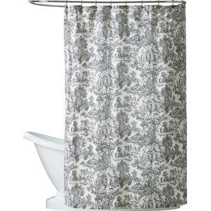 grey and navy shower curtain. Lablanc Cotton Toile Shower Curtain Black Curtains You ll Love  Wayfair