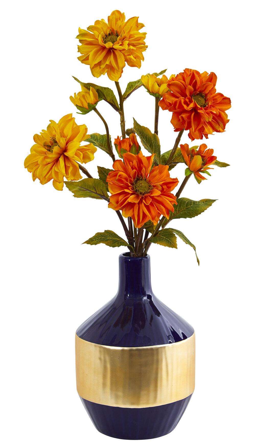 Gracie Oaks Artificial Zinnia Floral Arrangement In Vase Wayfair