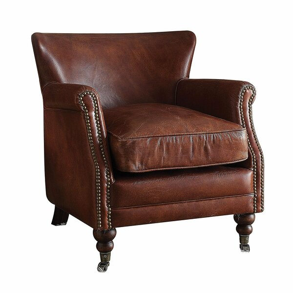 Basford Vintage Leather Club Chair by Canora Grey