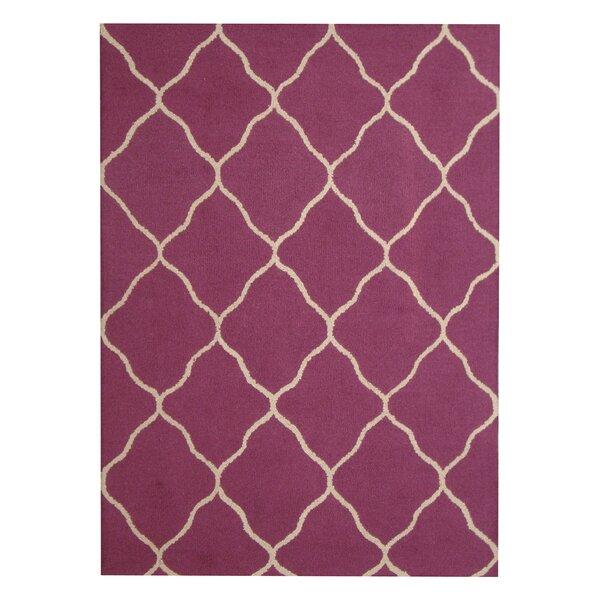 Hand-Tufted Purple/Beige Indoor Area Rug by Herat Oriental