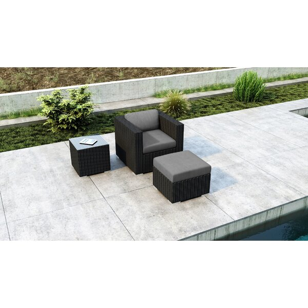 Glendale 3 Piece Patio Chair with Sunbrella Cushion by Everly Quinn