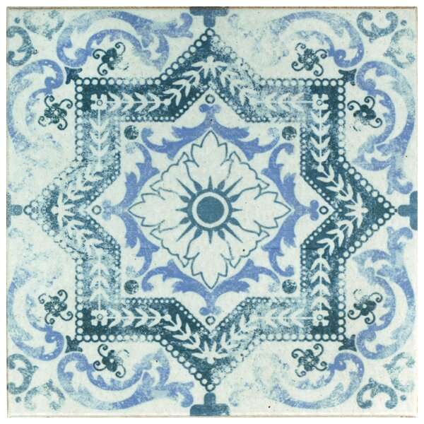 Shale 12.75 x 12.75 Ceramic Field Tile in White/Blue by EliteTile
