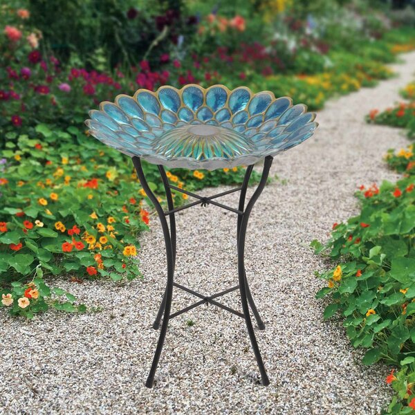 18 Outdoor Glass Solar Birdbath by Peaktop