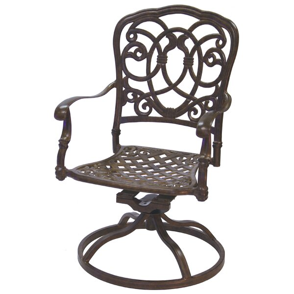 Battista Swivel Patio Dining Chair by Fleur De Lis Living