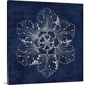 Rosette V Graphic Art on Wrapped Canvas in Indigo by Great Big Canvas