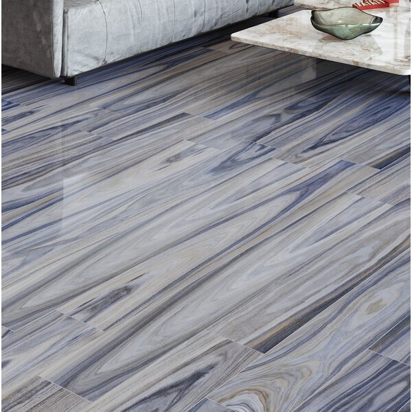 Dellano 8 x 48 Porcelain Wood Look Tile in Blue/Gray by MSI